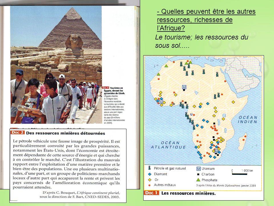 - Quelles peuvent être les autres ressources, richesses de lAfrique? Le tourisme; les ressources du sous sol.....