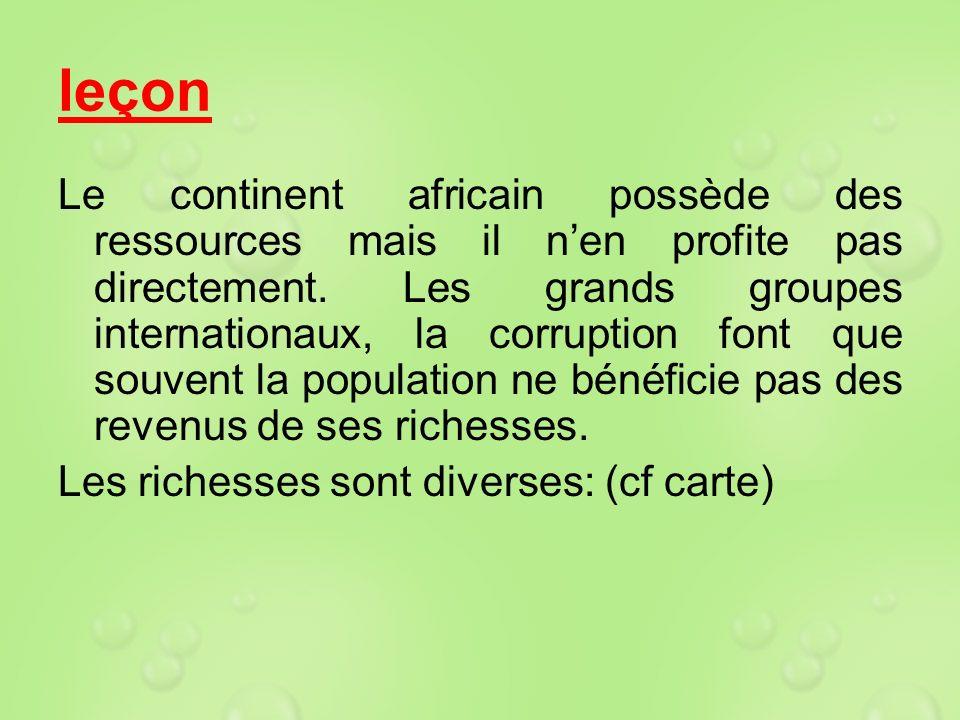 leçon Le continent africain possède des ressources mais il nen profite pas directement. Les grands groupes internationaux, la corruption font que souv
