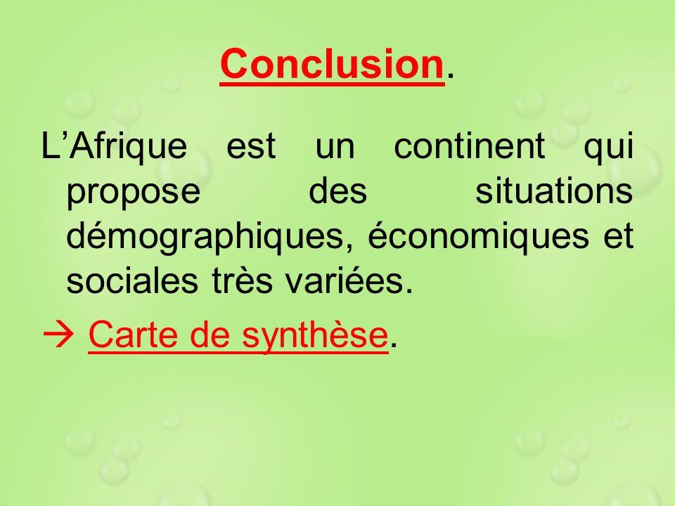 Conclusion. LAfrique est un continent qui propose des situations démographiques, économiques et sociales très variées. Carte de synthèse.