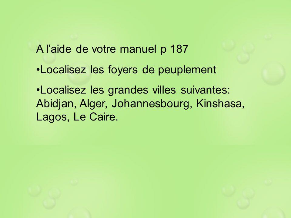 A laide de votre manuel p 187 Localisez les foyers de peuplement Localisez les grandes villes suivantes: Abidjan, Alger, Johannesbourg, Kinshasa, Lago