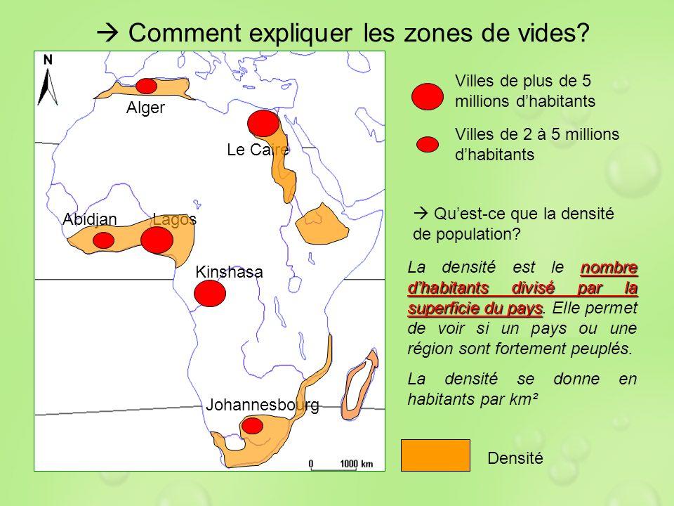 Comment expliquer les zones de vides? Le Caire Alger AbidjanLagos Kinshasa Johannesbourg Quest-ce que la densité de population? nombre dhabitants divi