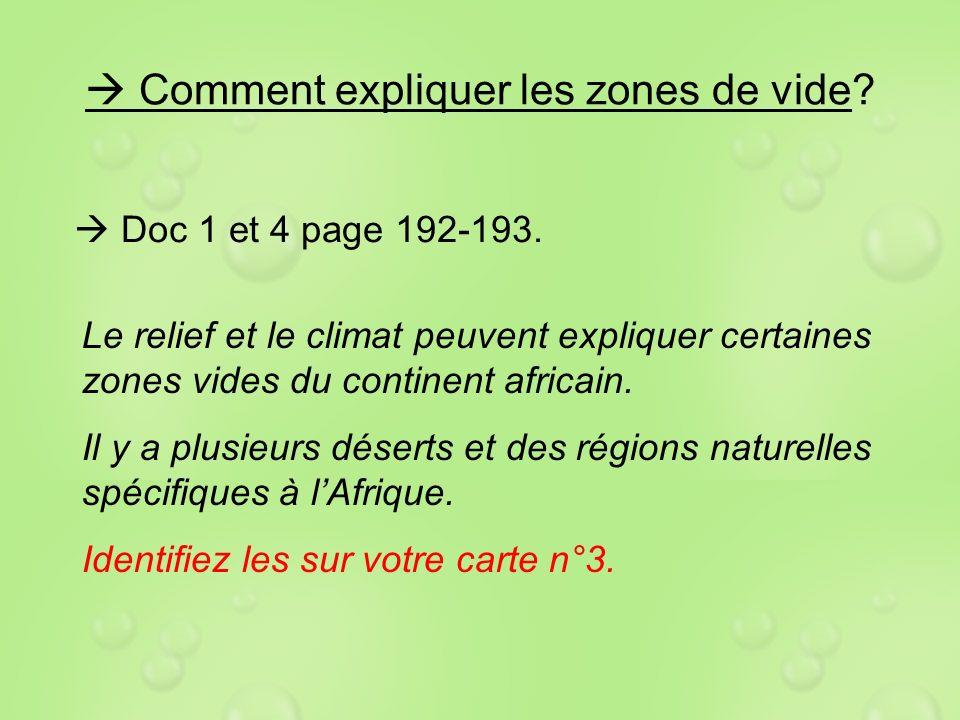 Comment expliquer les zones de vide? Doc 1 et 4 page 192-193. Le relief et le climat peuvent expliquer certaines zones vides du continent africain. Il