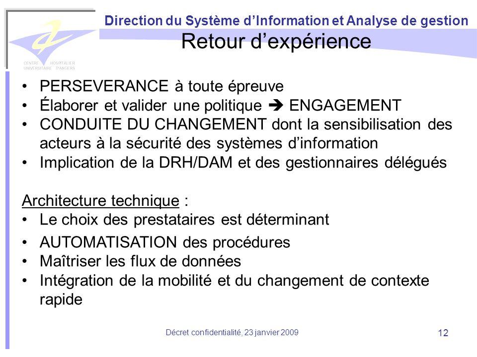Direction du Système dInformation et Analyse de gestion Décret confidentialité, 23 janvier 2009 12 Retour dexpérience PERSEVERANCE à toute épreuve Éla