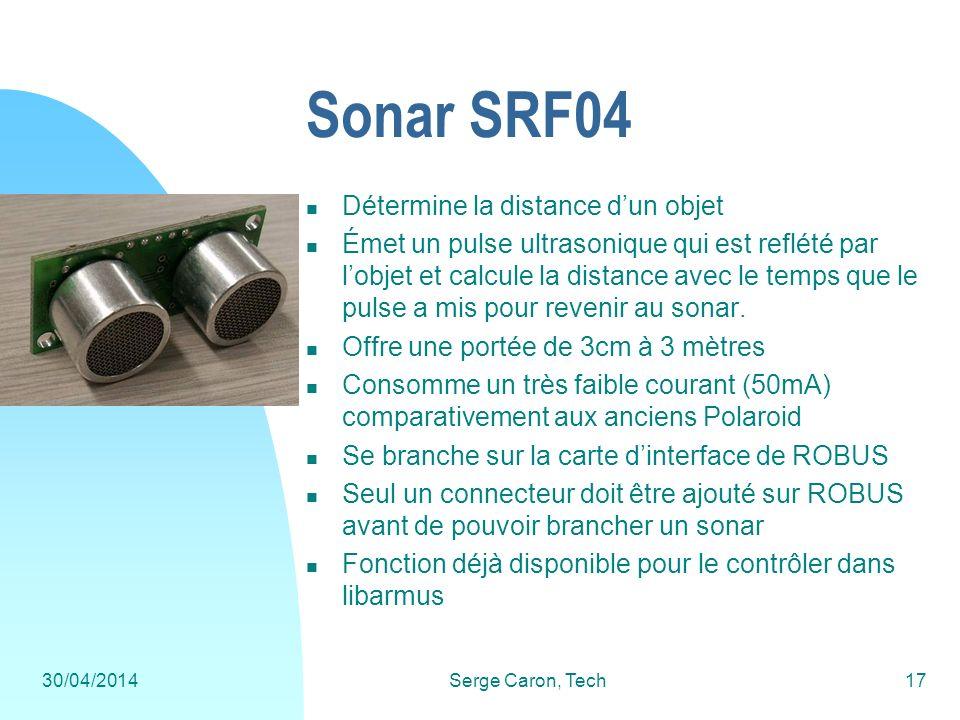 30/04/2014Serge Caron, Tech17 Sonar SRF04 Détermine la distance dun objet Émet un pulse ultrasonique qui est reflété par lobjet et calcule la distance
