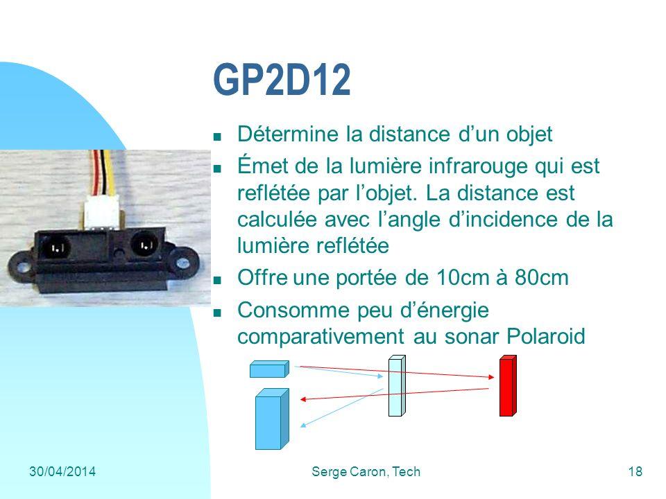 30/04/2014Serge Caron, Tech18 GP2D12 Détermine la distance dun objet Émet de la lumière infrarouge qui est reflétée par lobjet. La distance est calcul