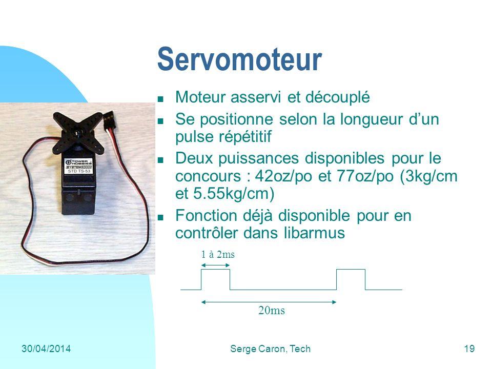 30/04/2014Serge Caron, Tech19 Servomoteur Moteur asservi et découplé Se positionne selon la longueur dun pulse répétitif Deux puissances disponibles p