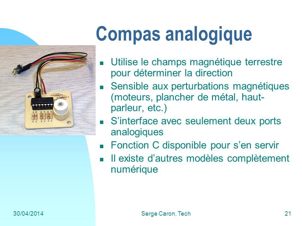 30/04/2014Serge Caron, Tech21 Compas analogique Utilise le champs magnétique terrestre pour déterminer la direction Sensible aux perturbations magnéti