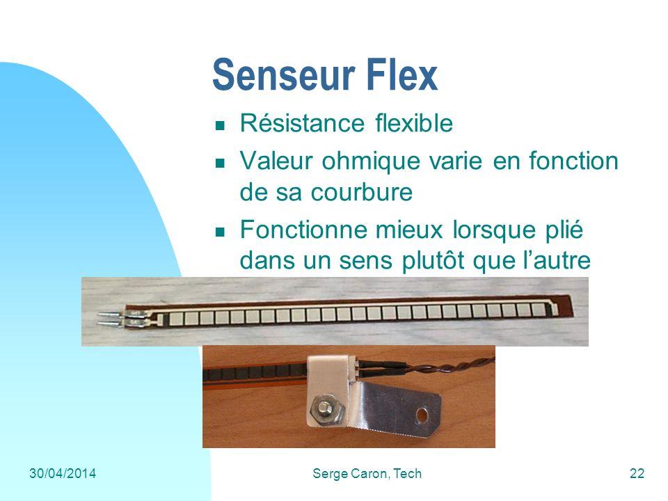30/04/2014Serge Caron, Tech22 Senseur Flex Résistance flexible Valeur ohmique varie en fonction de sa courbure Fonctionne mieux lorsque plié dans un s