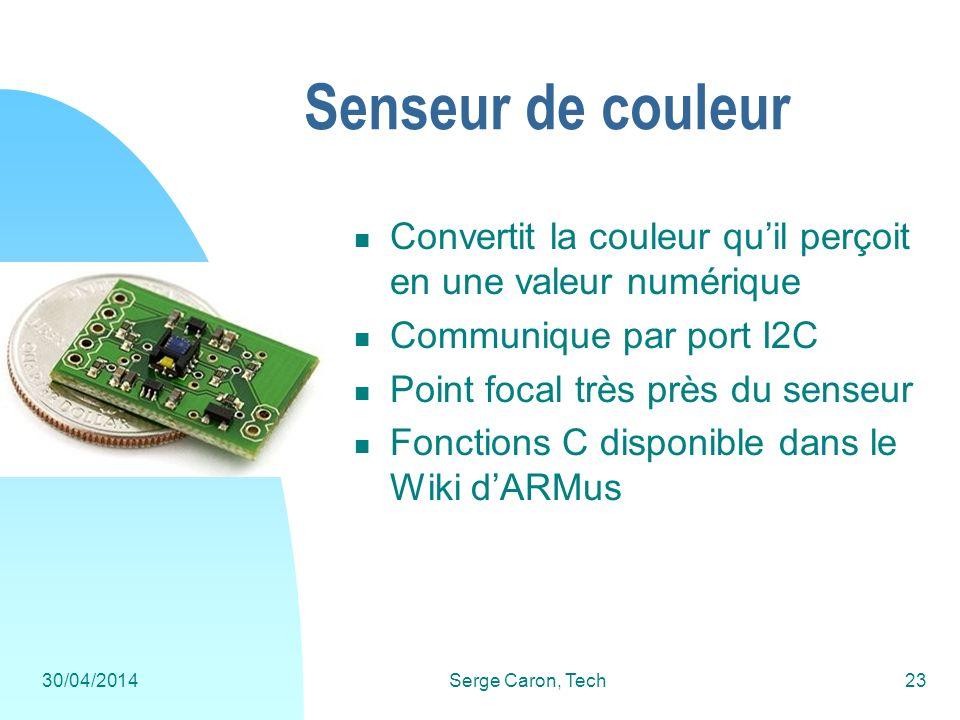 30/04/2014Serge Caron, Tech23 Senseur de couleur Convertit la couleur quil perçoit en une valeur numérique Communique par port I2C Point focal très pr