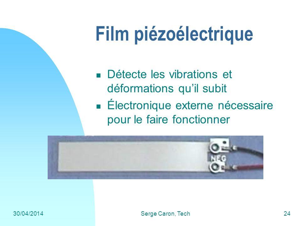 30/04/2014Serge Caron, Tech24 Film piézoélectrique Détecte les vibrations et déformations quil subit Électronique externe nécessaire pour le faire fon