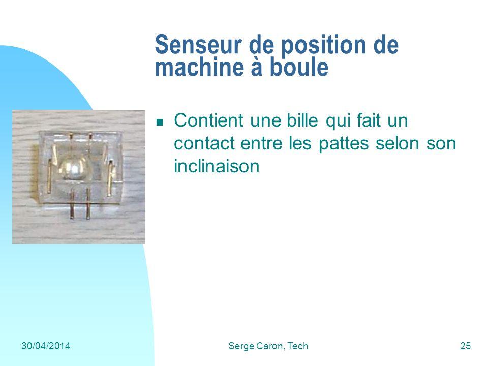 30/04/2014Serge Caron, Tech25 Senseur de position de machine à boule Contient une bille qui fait un contact entre les pattes selon son inclinaison