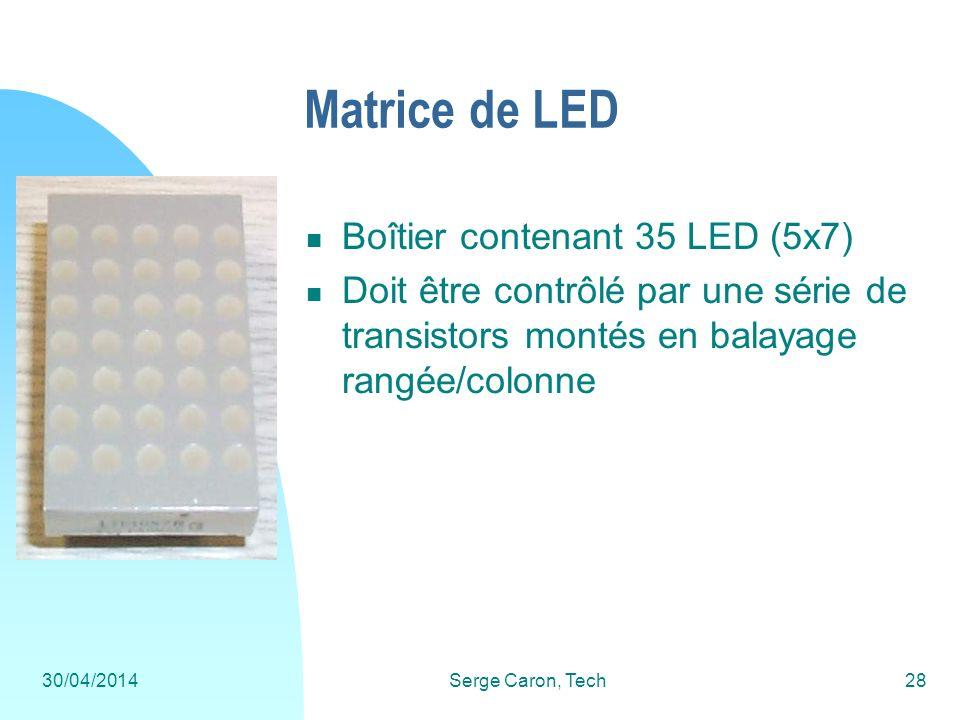 30/04/2014Serge Caron, Tech28 Matrice de LED Boîtier contenant 35 LED (5x7) Doit être contrôlé par une série de transistors montés en balayage rangée/