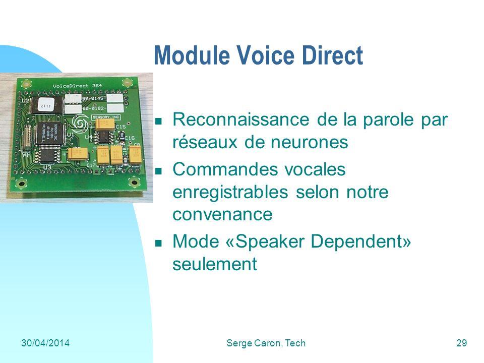 30/04/2014Serge Caron, Tech29 Module Voice Direct Reconnaissance de la parole par réseaux de neurones Commandes vocales enregistrables selon notre con