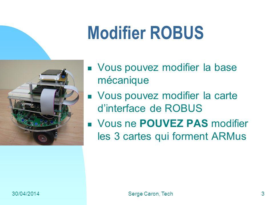 30/04/2014Serge Caron, Tech3 Modifier ROBUS Vous pouvez modifier la base mécanique Vous pouvez modifier la carte dinterface de ROBUS Vous ne POUVEZ PA