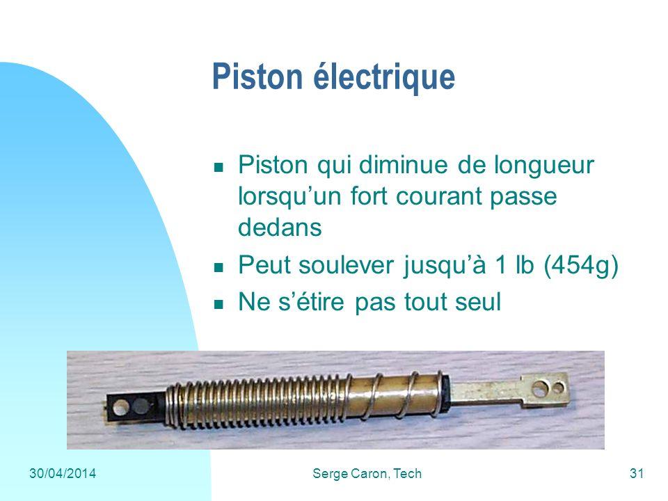 30/04/2014Serge Caron, Tech31 Piston électrique Piston qui diminue de longueur lorsquun fort courant passe dedans Peut soulever jusquà 1 lb (454g) Ne