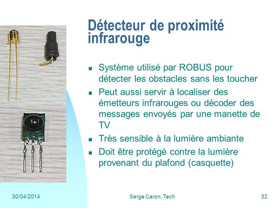 30/04/2014Serge Caron, Tech32 Détecteur de proximité infrarouge Système utilisé par ROBUS pour détecter les obstacles sans les toucher Peut aussi serv