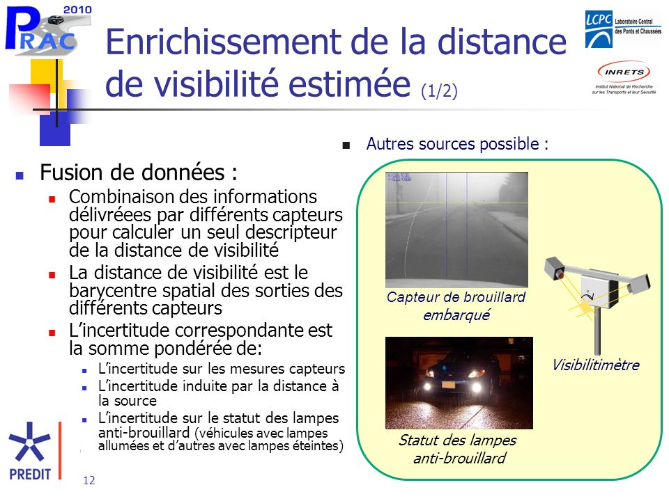 12 Enrichissement de la distance de visibilité estimée (1/2) Fusion de données : Combinaison des informations délivréees par différents capteurs pour calculer un seul descripteur de la distance de visibilité La distance de visibilité est le barycentre spatial des sorties des différents capteurs Lincertitude correspondante est la somme pondérée de: Lincertitude sur les mesures capteurs Lincertitude induite par la distance à la source Lincertitude sur le statut des lampes anti-brouillard (véhicules avec lampes allumées et dautres avec lampes éteintes) Autres sources possible : Capteur de brouillard embarqué Statut des lampes anti-brouillard Visibilitimètre