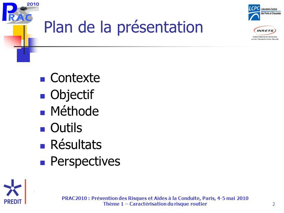 PRAC2010 : Prévention des Risques et Aides à la Conduite, Paris, 4-5 mai 2010 Thème 1 – Caractérisation du risque routier2 Plan de la présentation Contexte Objectif Méthode Outils Résultats Perspectives
