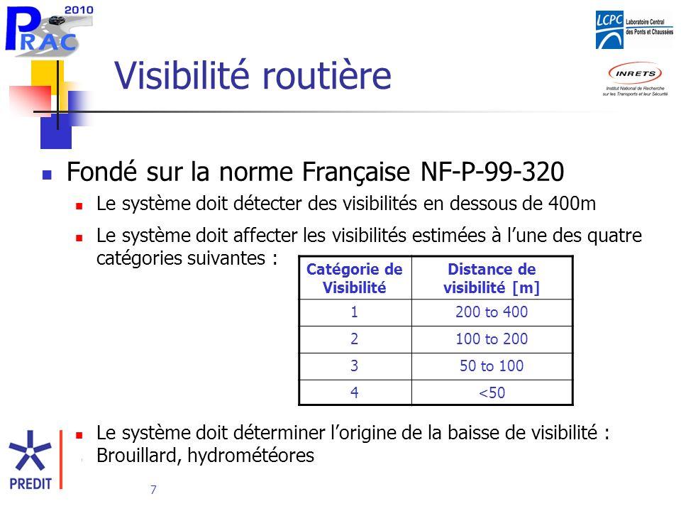7 Visibilité routière Fondé sur la norme Française NF-P-99-320 Le système doit détecter des visibilités en dessous de 400m Le système doit affecter les visibilités estimées à lune des quatre catégories suivantes : Le système doit déterminer lorigine de la baisse de visibilité : Brouillard, hydrométéores Catégorie de Visibilité Distance de visibilité [m] 1200 to 400 2100 to 200 350 to 100 4<50
