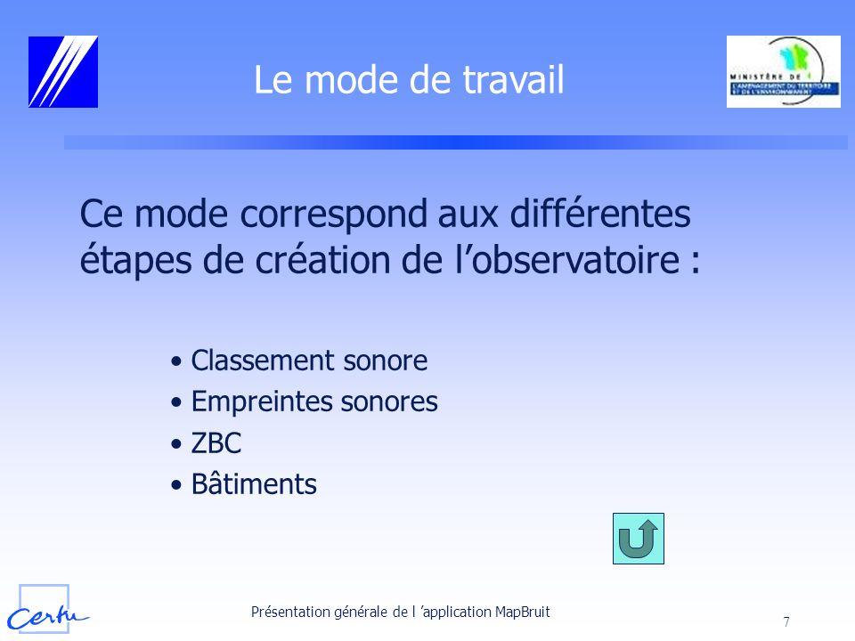 Présentation générale de l application MapBruit 7 Le mode de travail Ce mode correspond aux différentes étapes de création de lobservatoire : Classeme
