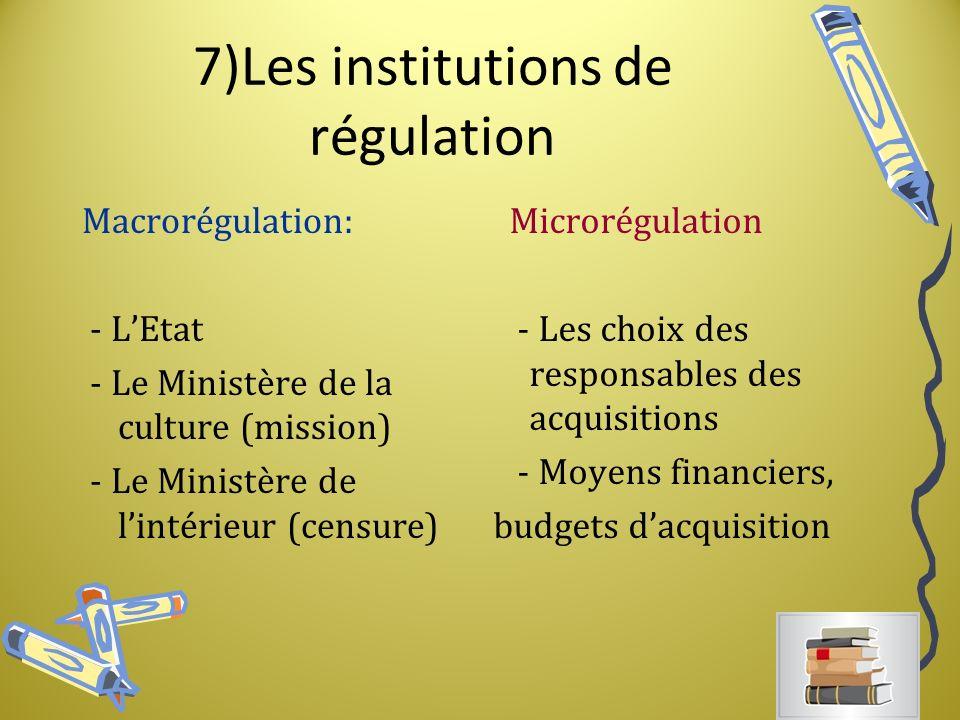 7)Les institutions de régulation Macrorégulation: - LEtat - Le Ministère de la culture (mission) - Le Ministère de lintérieur (censure) Microrégulation - Les choix des responsables des acquisitions - Moyens financiers, budgets dacquisition