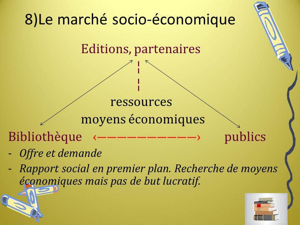 8)Le marché socio-économique Editions, partenaires ¦ ressources moyens économiques Bibliothèque publics -Offre et demande -Rapport social en premier plan.