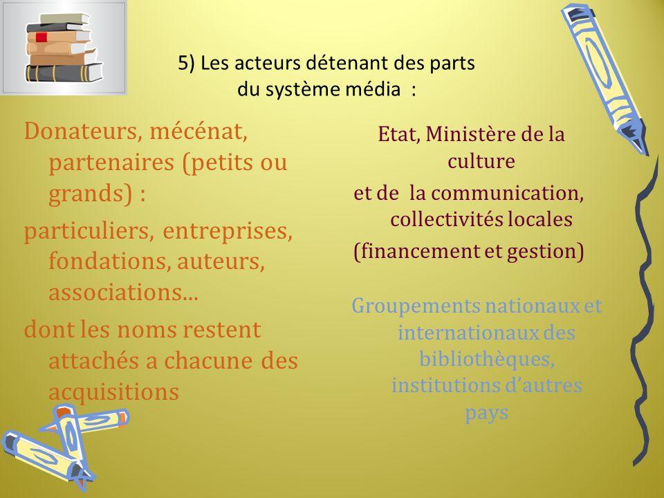 5) Les acteurs détenant des parts du système média : Donateurs, mécénat, partenaires (petits ou grands) : particuliers, entreprises, fondations, auteurs, associations...