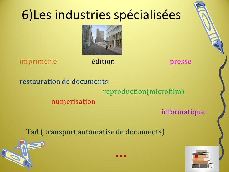 6)Les industries spécialisées imprimerie édition presse restauration de documents reproduction(microfilm) numerisation informatique Tad ( transport automatise de documents)...