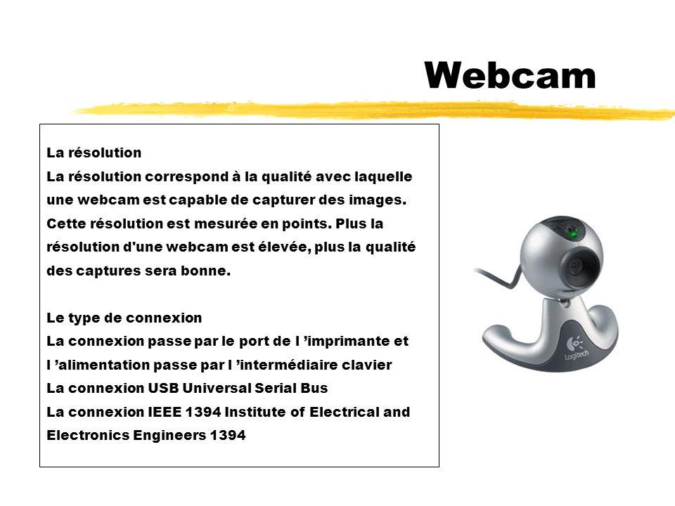 5 - Webcam La webcam est un périphérique qui permet de capturer des images fixes ou animées.