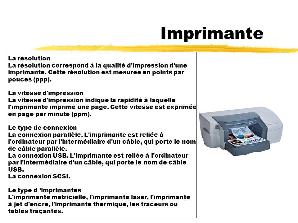 2 - Imprimante L imprimante est un périphérique qui permet de reproduire sur papier, des textes ou des images.