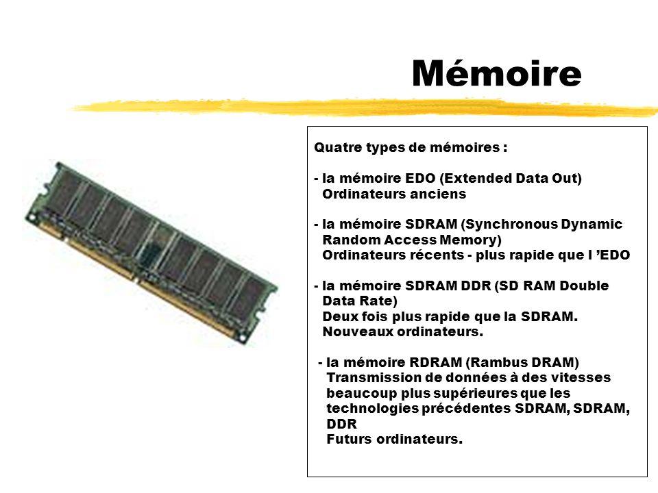 3 - Mémoire Elle permet de conserver des informations et de les rendre rapidement accessibles au microprocesseur.