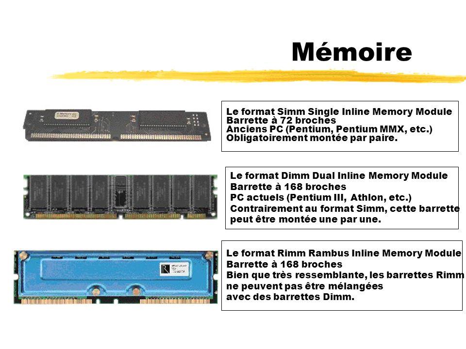 Quatre types de mémoires : - la mémoire EDO (Extended Data Out) Ordinateurs anciens - la mémoire SDRAM (Synchronous Dynamic Random Access Memory) Ordinateurs récents - plus rapide que l EDO - la mémoire SDRAM DDR (SD RAM Double Data Rate) Deux fois plus rapide que la SDRAM.