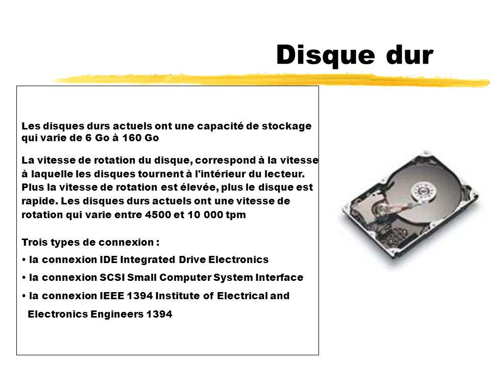 5 - Disque dur Disque dur Le disque dur est un support composé de disques magnétiques sur lesquels on peut stocker de grandes quantités d informations.