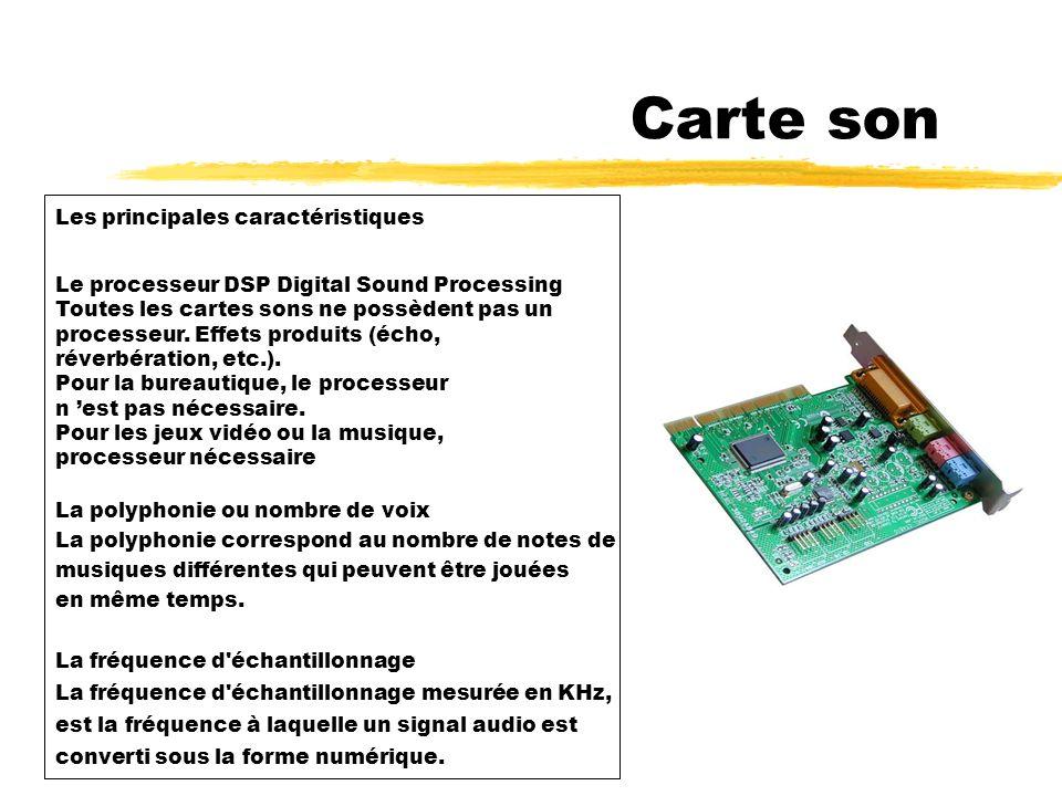 7 - Carte son Carte son La carte son est une carte électronique qui permet de générer et d enregistrer des signaux audio.