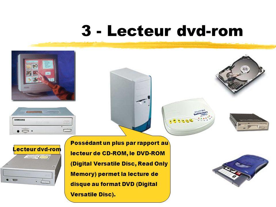 2 - Lecteur cd-rom Le lecteur de CD-ROM (Compact Disc, Read Only Memory) est un périphérique de stockage qui permet la lecture de disques optiques : CD audio, CD de données.