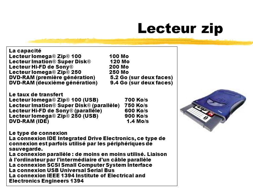 Lecteur zip Le lecteur de disquettes Zip ou Jaz permet de lire et d écrire sur des disquettes Zip ou Jaz Lecteur zip