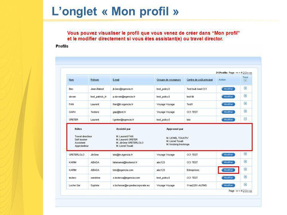 Longlet « Mon profil » Vous pouvez visualiser le profil que vous venez de créer dans Mon profil et le modifier directement si vous êtes assistant(e) ou travel director.
