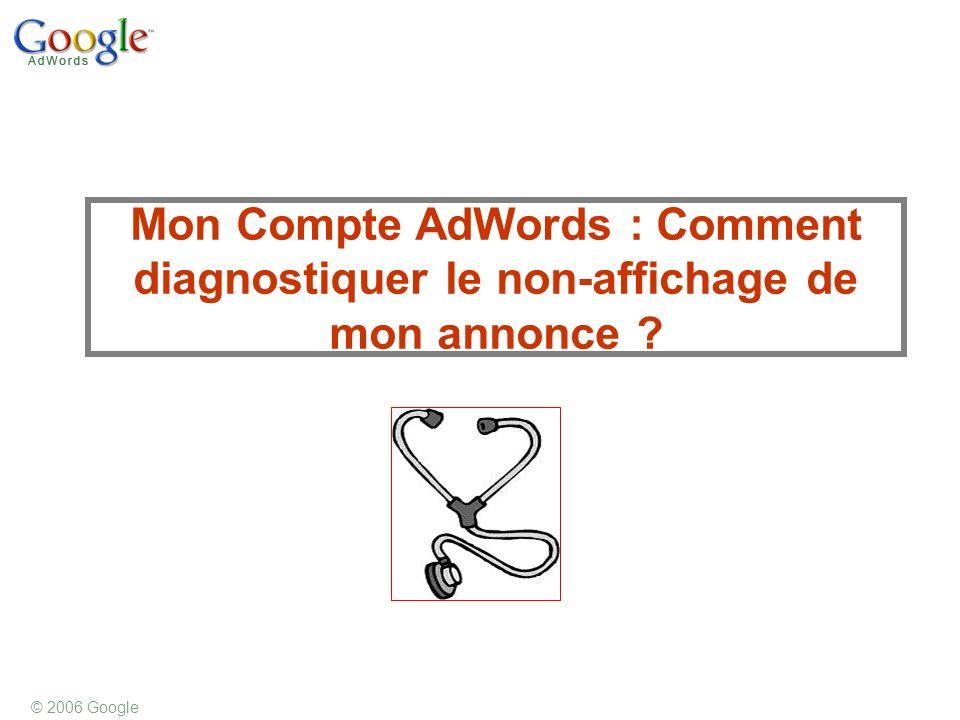 © 2006 Google Mon Compte AdWords : Comment diagnostiquer le non-affichage de mon annonce