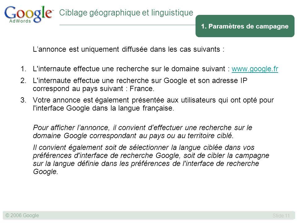 SLIDE 11© GOOGLE 2004 © 2006 Google Slide 11 Lannonce est uniquement diffusée dans les cas suivants : 1.L internaute effectue une recherche sur le domaine suivant : www.google.frwww.google.fr 2.L internaute effectue une recherche sur Google et son adresse IP correspond au pays suivant : France.