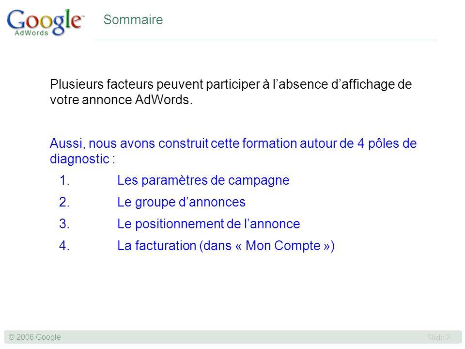 SLIDE 3© GOOGLE 2004 © 2006 Google Slide 3 Nos 4 pôles de diagnostic 1.Les paramètres de campagne 2.Le groupe dannonces 3.Le positionnement de lannonce 4.La facturation (dans « Mon Compte »)