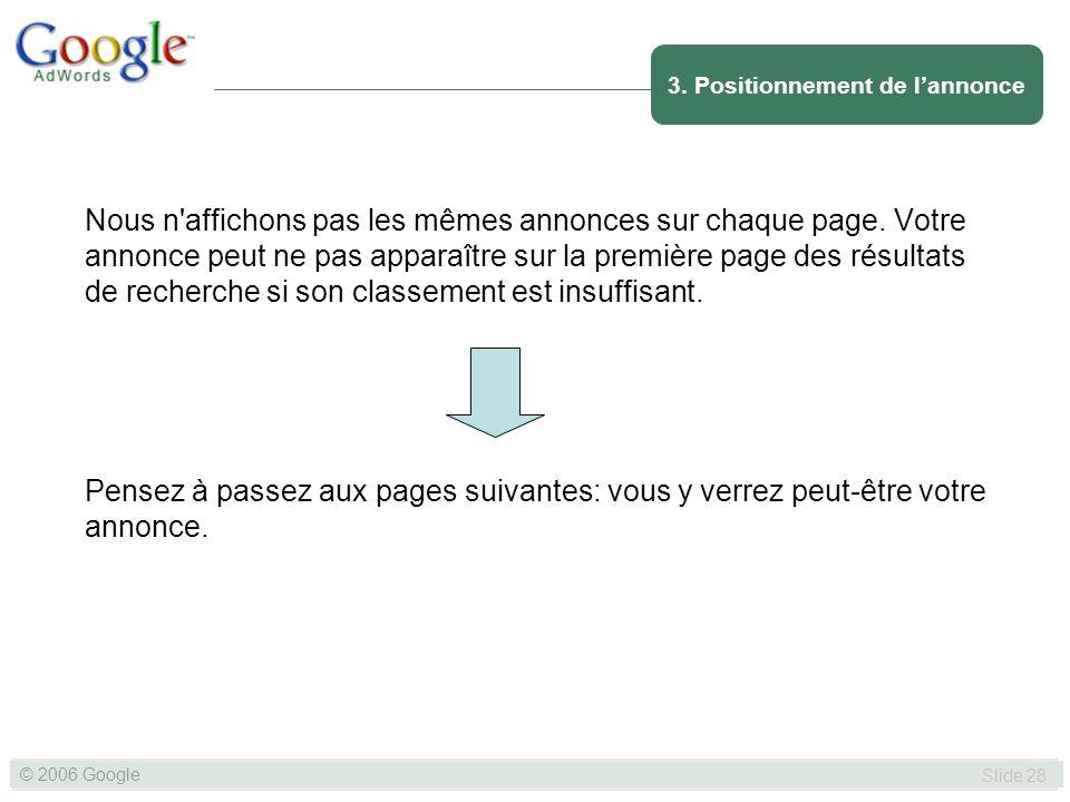 SLIDE 28© GOOGLE 2004 © 2006 Google Slide 28 Nous n affichons pas les mêmes annonces sur chaque page.