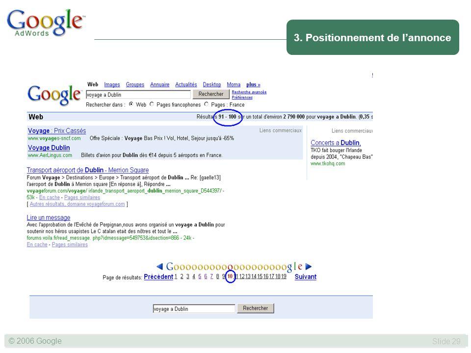 SLIDE 29© GOOGLE 2004 © 2006 Google Slide 29 3. Positionnement de lannonce