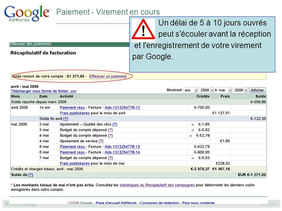 SLIDE 34© GOOGLE 2004 © 2006 Google Slide 34 Un délai de 5 à 10 jours ouvrés peut s écouler avant la réception et l enregistrement de votre virement par Google.