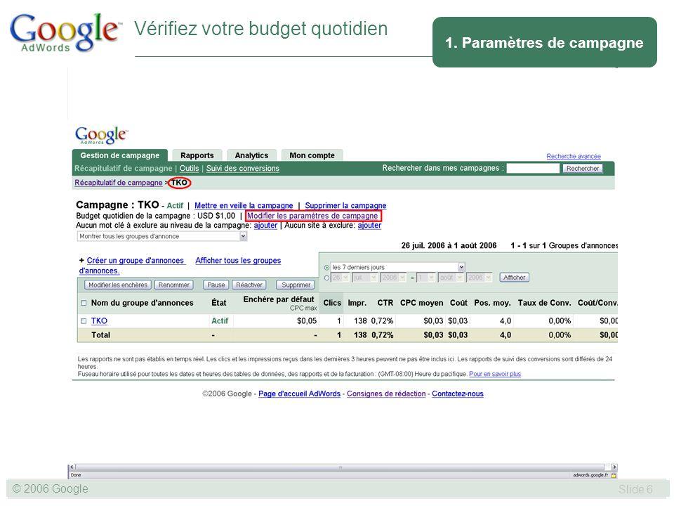 SLIDE 47© GOOGLE 2004 © 2006 Google Slide 47 Nhésitez pas à utiliser l Outil de diagnostic des annonces pour vérifier que votre annonce apparaît sur la première page des résultats de recherche et pour identifier pourquoi une annonce ou un groupe d annonces spécifique n est pas affiché.