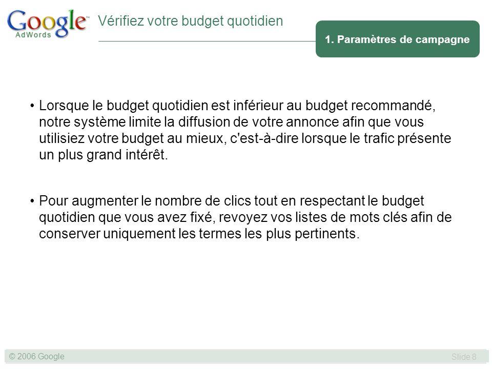 SLIDE 8© GOOGLE 2004 © 2006 Google Slide 8 Lorsque le budget quotidien est inférieur au budget recommandé, notre système limite la diffusion de votre annonce afin que vous utilisiez votre budget au mieux, c est-à-dire lorsque le trafic présente un plus grand intérêt.