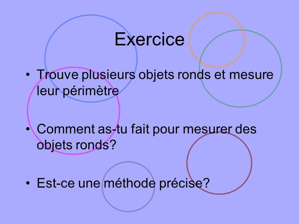 Exercice Trouve plusieurs objets ronds et mesure leur périmètre Comment as-tu fait pour mesurer des objets ronds? Est-ce une méthode précise?