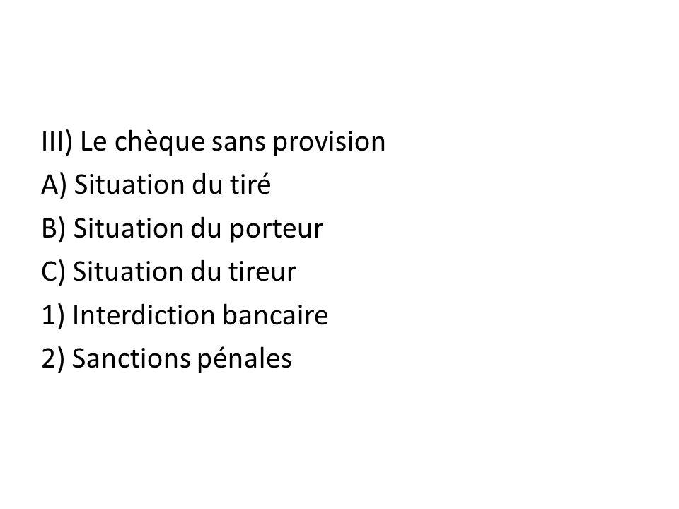 III) Le chèque sans provision A) Situation du tiré B) Situation du porteur C) Situation du tireur 1) Interdiction bancaire 2) Sanctions pénales