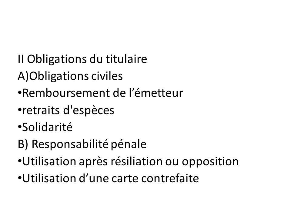 II Obligations du titulaire A)Obligations civiles Remboursement de lémetteur retraits d'espèces Solidarité B) Responsabilité pénale Utilisation après
