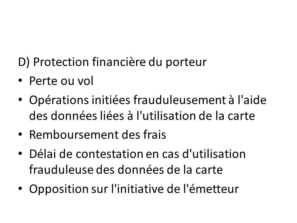 D) Protection financière du porteur Perte ou vol Opérations initiées frauduleusement à l'aide des données liées à l'utilisation de la carte Remboursem