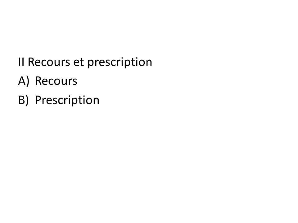II Recours et prescription A)Recours B)Prescription